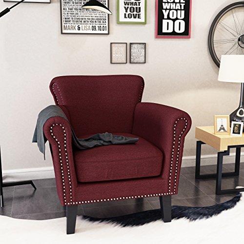 Studded Scroll (Brently Vintage Scroll Arm Studded Wine Fabric Club Chair)
