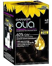 Garnier Olia Permanent Hair Colour - 4.0 Dark Brown (Ammonia Free, Oil Based)