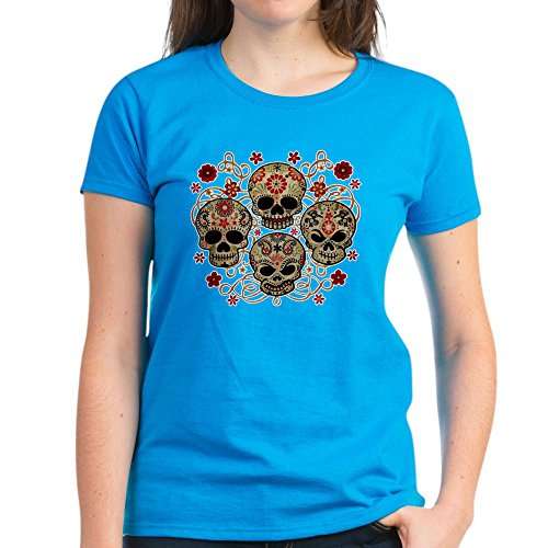 Royal Lion Women's Dark T-Shirt Flower Skulls Goth - Caribbean Blue, Small]()