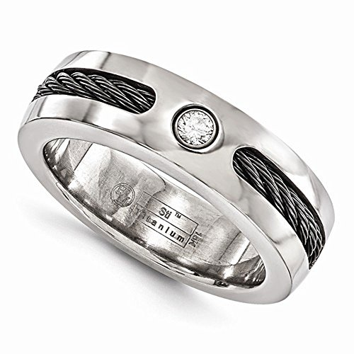 Edward Mirell Titanium Cable Sterling Silver Bezel 0.10 ct Diamond 7mm Wedding Band - Size 13 by Edward Mirell