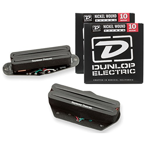 Seymour Duncan 11208-03 Black Pickup Set STHR-1, Hot Rails for Tele w/ 2 Sets of ()