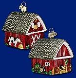 Old World Christmas Barn Farm Animals & Tractor Glass Ornament #20014