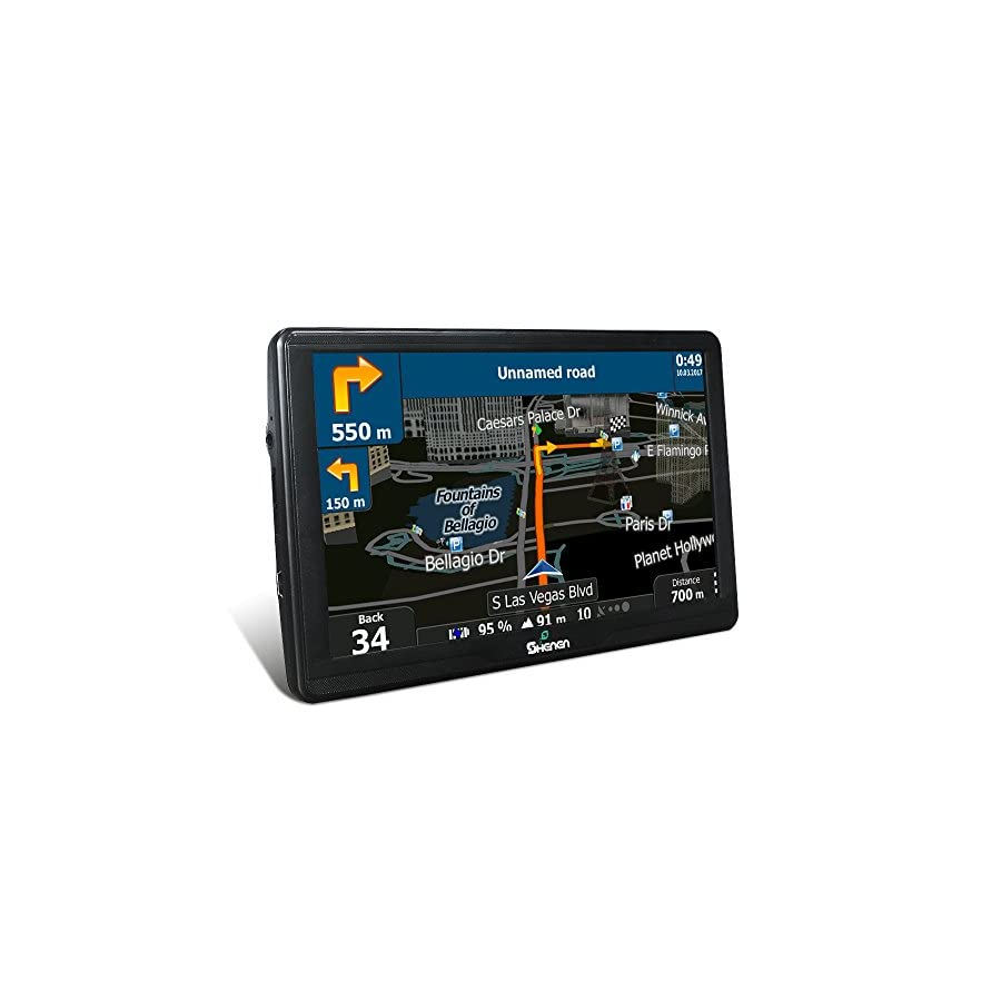 SHENEN GPS Navigation for Car, Vehicle GPS SAT NAV 7 Inches 8GB Capacitive Touchscreen, Spoken Turn to Turn Navigation Included Overall America Maps with Lifetime Free Updates and 2 Car Charger
