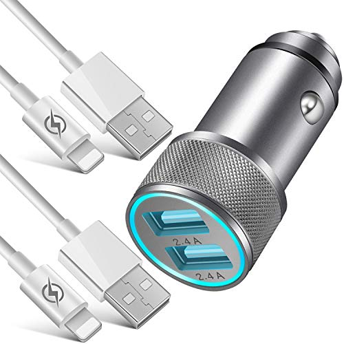 NNICE Car Charger, 2.4A AL-Alloy Dual USB Car Charger Adapter with 2-Pack 3 FT Charging Cable Sync Cord Compatible with iPhone 11 Pro Max/11 Pro/11/Xs/XR/X/8/7/6 Plus SE 5S, iPad Pro Air Mini and More (Apple Mac Car Charger)