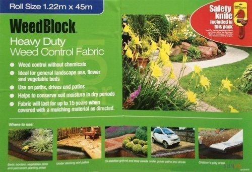 EASY GARDENER Weed Block Landscape Weed Control Fabric 1.2M X 45M
