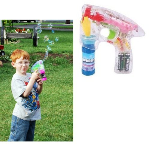 Rhode Island Novelty Light-Up LED Transparent Bubble Gun (Colors May Vary)
