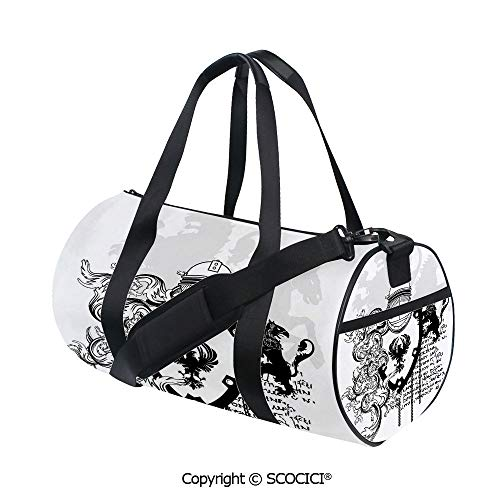 Canvas cylinder sports bag,Heraldic Helmet Coat of Medieval Knight with Ornate Pattern the Past Old Times GraphicEasy to Carry,(17.6 x 9 x 9 in) Black White