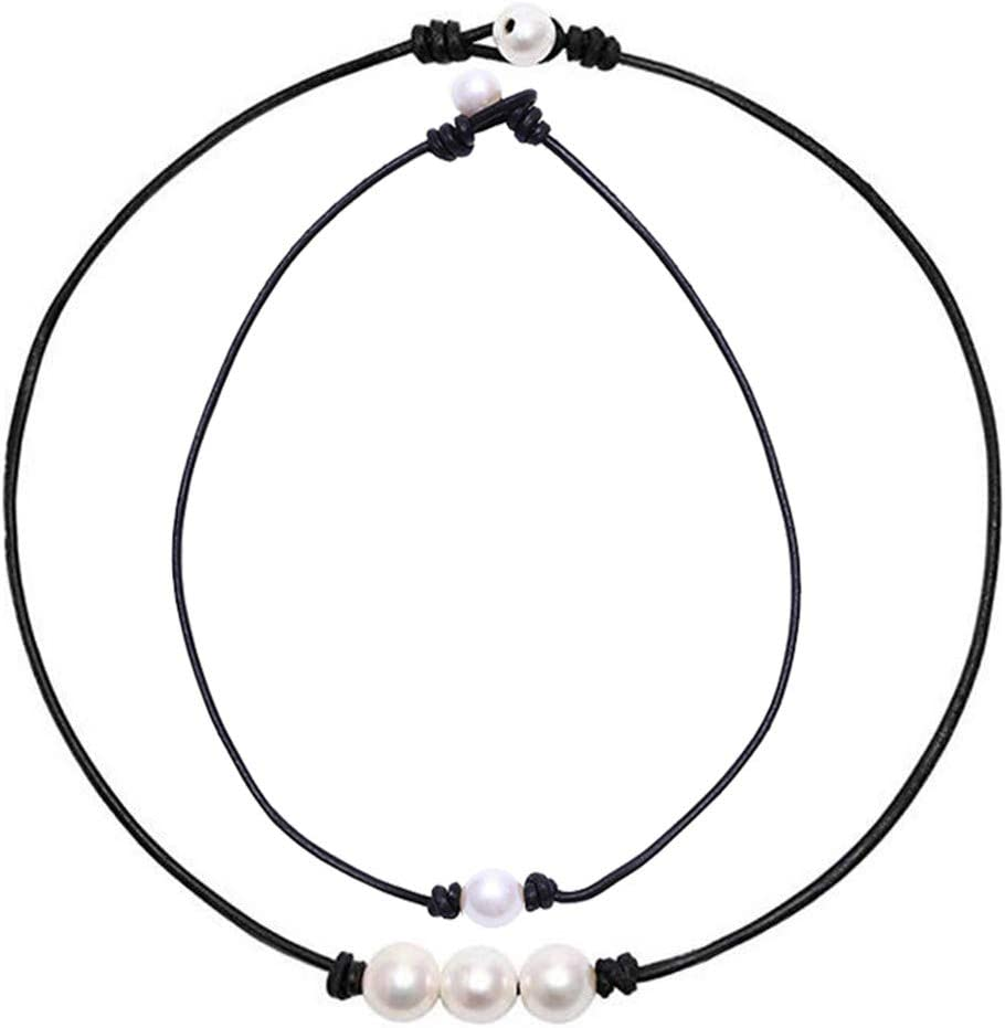 Pearl Necklace Set 2 Pcs,Crytech Minimalist Handmade Single//Three Faux Round Pearl Pendant Choker with Black Leather Cord Stylish Bohemain Pearl Clavicle Chain Necklace for Women Girls