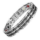 Magnetic Bracelet high Power 3000gauss for Arthritis Black Titanium Bracelet for Men with Free Removal Tool