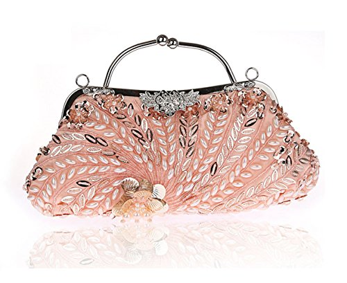 Womens Beaded Wedding Clutch Long Handmade Champagne with Bag Pulama Bridal 100 Handbag Chain rax6Uqr