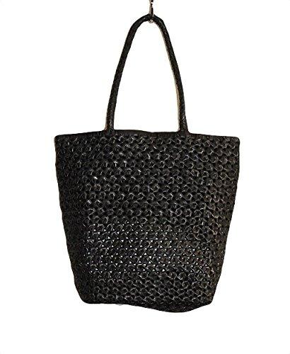 (サックドゥエール) sac de R ヤギ ハンドメッシュバッグ,カラー銀,ハンドメイドレザ メッシュ B079JD9LGN ブラック