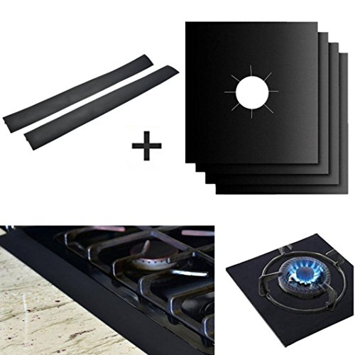 Price comparison product image Longay 4Pcs Reusable Gas Hob Range Stovetop Burner Protector Liner Cover & 2Pcs Stove Counter Gap Cover For Cleaning Kitchen Tools