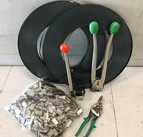 1,300# LOAD STEEL STRAPPING BANDING TOOL KIT SET Steel Strapping Kit 1500 CRIMPS & 600 FEET STEEL & TOOL by VKRP Enterprises