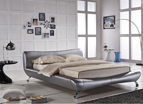Black Platform Bed Upholstered In Faux Black Leather Basic