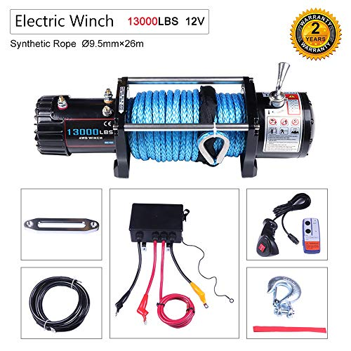 OCPTY Winches Waterproof Offroad 13000 lbs Load 12V Electric Winch with Wireless/Hand Remote Control+Solenoid Box Assembly+Aluminum Fairlead+Negative Wire+Hook+Bolts+Users ()