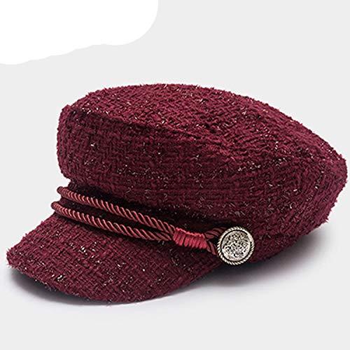 Fashion Vintage Gold Thread Tweed Beret Girls Military Cap Winter Sailor Hat Wool Warm Baseball Cap