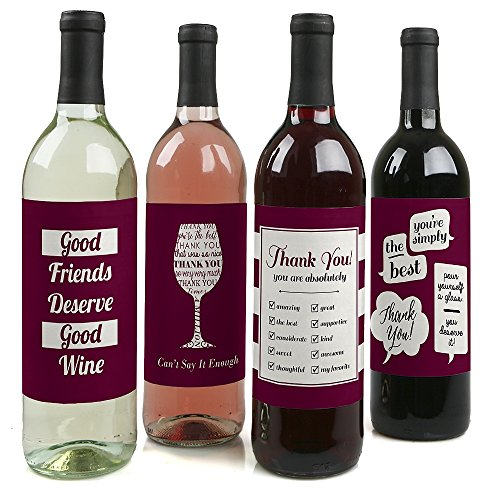 Girly Thank You - Thank You Gift for Women - Wine Bottle Label Stickers - Set of 4]()