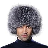 URSFUR Winter Mens Trapper Hat Leather Silver Blue Fox Fur Russian Ushanka Cap