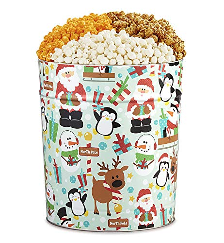 The Popcorn Factory Popcorn Gift Tin, Santa, 3.5 Gallons (Robust Cheddar, White Cheddar, Caramel)