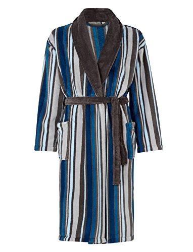 Striped Mens Robe (Walker Reid Mens Striped Fleece Dressing Gown Luxury Shawl Collar Bath Robe with Pockets XL)