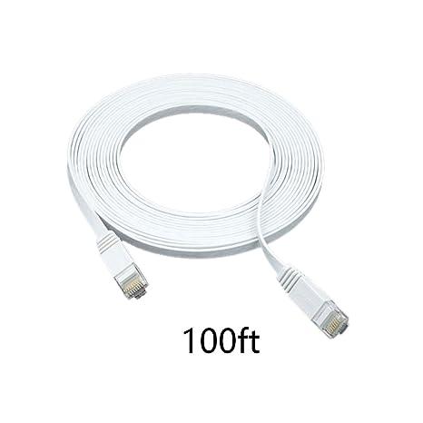 30m Cable blanco plano del gato 6 Categoría 6 Tipo de cable Cat6 4 pares UTP ...