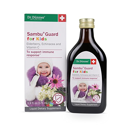 Dr. Dünner Sambu Guard for Kids Black Elderberry Syrup with Elderflower, Echinacea & Vitamin C, 5.9 fl oz - for Immune Support, Non-GMO, Gluten Free, Lactose Free, Vegetarian