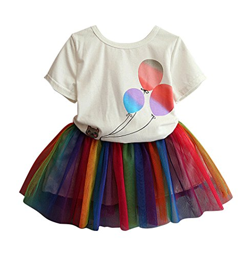 CRB Fashion Girls Toddler Top Shirt Rainbow Party Dance Tutu Skirt Outfit (2 Years Old) -