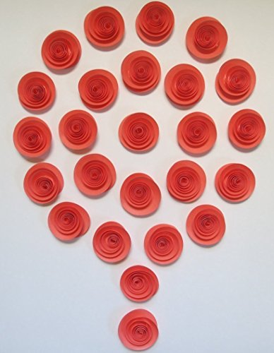 Set of 24 Coral Roses, Salmon Paper Flowers, Girl Baby Shower Decoration, 1.5