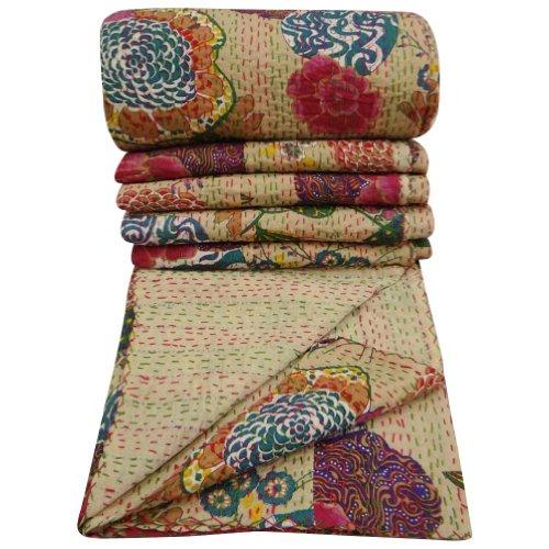 100% Cotton Quilt Floral Pattern Beige Home Décor Kantha Reverssible Bedspread Queen Size Stitch Gudri 101