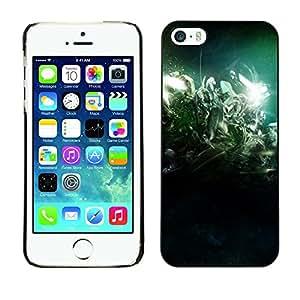 TopCaseStore / la caja del caucho duro de la cubierta de protección de la piel - Desert Lights Night Green - Apple iPhone 5 / 5S