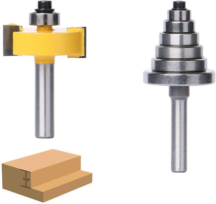 XUPHINX 8 mm Vástago de rebajado Router Bit elaboración de la madera del condensador de ajuste del cortador con 6 rodamientos Conjunto para profundidades múltiples