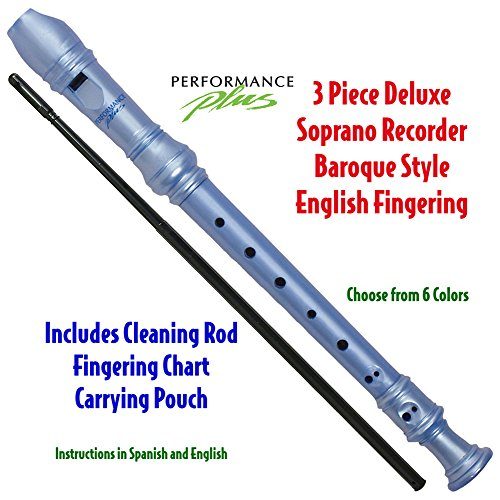 Performance Plus RECB-BP 3-Piece Deluxe Soprano Recorder, Blue Pearl by Performance Plus
