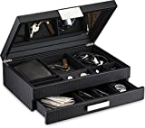 Glenor Co Mens Valet/Dresser Organizer - Luxury 12 Slot Jewelry Accessories Box, Carbon Fiber Design, Drawer Tray, Metal Buckle & Large Mirror for Men's Watches, Sunglasses, Wallet… Pu Leather Black