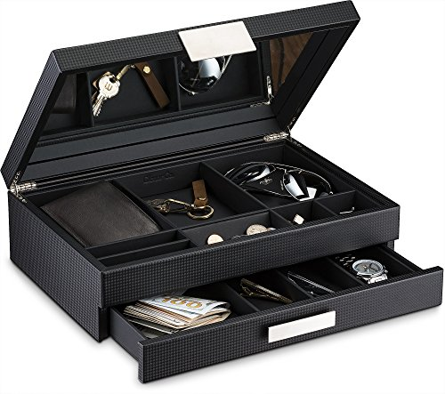 Glenor Co Mens Valet / Dresser Organizer - 12 Slot Luxury Jewelry Accessories Box, Carbon Fiber Design, Drawer Tray, Metal Buckle & Large Mirror for Men's Watches, Sunglasses, Wallet… Pu Leather Black Jewelry Accessories And Boxes