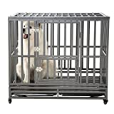Cheap SMONTER 42″ Heavy Duty Strong Metal Dog Cage Pet Kennel Crate Playpen with Wheels, I Shape, Dark Sliver