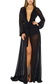 5725bbd03 Women's Sexy Thin Mesh Long Sleeve Tie Front Swimsuit Swim Beach Maxi Cover  Up Dress