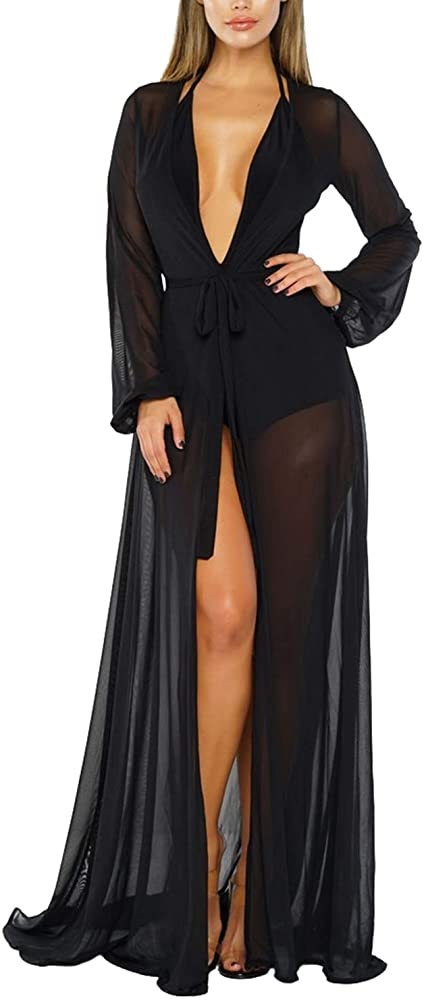 d812ac2132 Sovoyontee Women's Black Sexy Mesh Long Sleeve Swimsuit Swim Bathing Beach  Cover Up Dress S