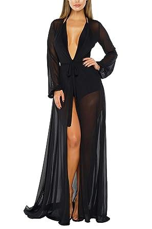 0321026ba5 COCOLEGGINGS Women's Self-Tie Sheer Mesh Beach Cover Up Sexy Maxi Dresses  Black S