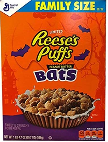 General Mills Limited Edition Reese's Puffs Halloween Peanut Butter Bats! Family Size 20.7 -