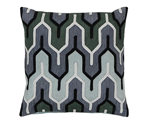 "20"" Charcoal Black, Denim, Seafoam and Hunter Green Empire Decorative Square Throw Pillow Down by Diva At Home"