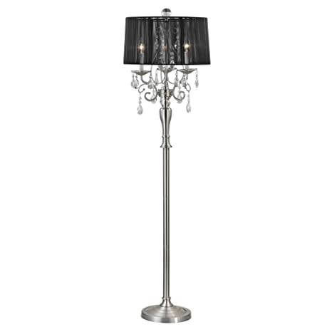 Crystal Chandelier Floor Lamp with Black Drum Shade in Satin Nickel ...