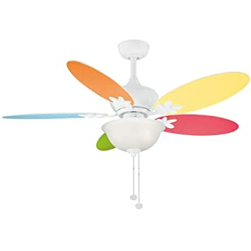 White Ceiling Fan with Multicolor/White flower blades - - Amazon.com