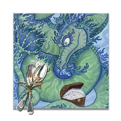 Scarlett Life Hall Green Dragon China Cute RabbitDecorative Polyester Placemats Set of 6 Printed Square Plate Cushion Kitchen Table Heat-Resistant Washable Dining Room Family Children