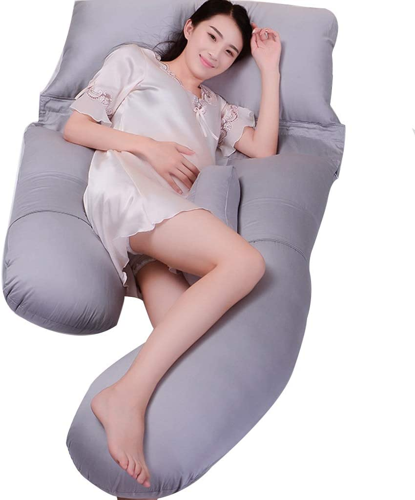 B07SMNB5NX Pregnant Women Pillow Side Sleeping Pillow Bed Linings Four Seasons Apply Feeding Pillow Children's Safety Fence Parent-Child Game Pillow Leisure Pillow (Color : Gray, Size : 1708020cm) 51Cq8sNCozL