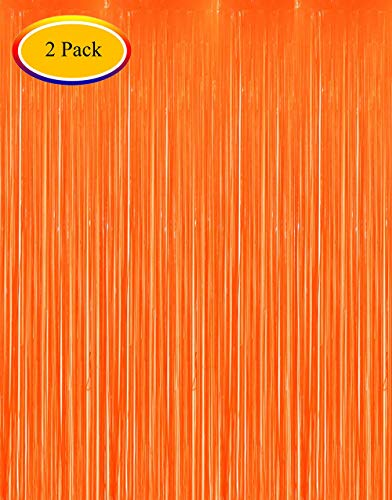 Neon Orange Curtains (Moohome 2 Pack 3ft x 8ft Orange Foil Curtains Tinsel Fringe Curtains Shimmer Door Window Curtain Backdrop for Birthday Wedding Bridal Shower Baby Shower Halloween Photo Booth Party)