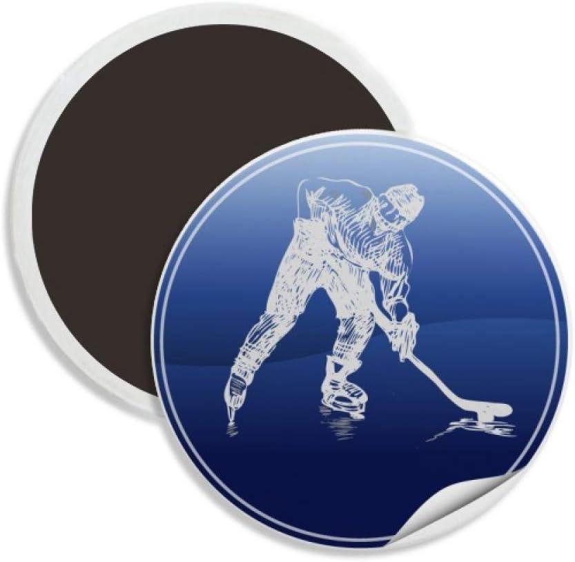 Winter Sport Skating and Ice Hockey Watercolor Round Ceramics Fridge Magnet Keepsake Decoration