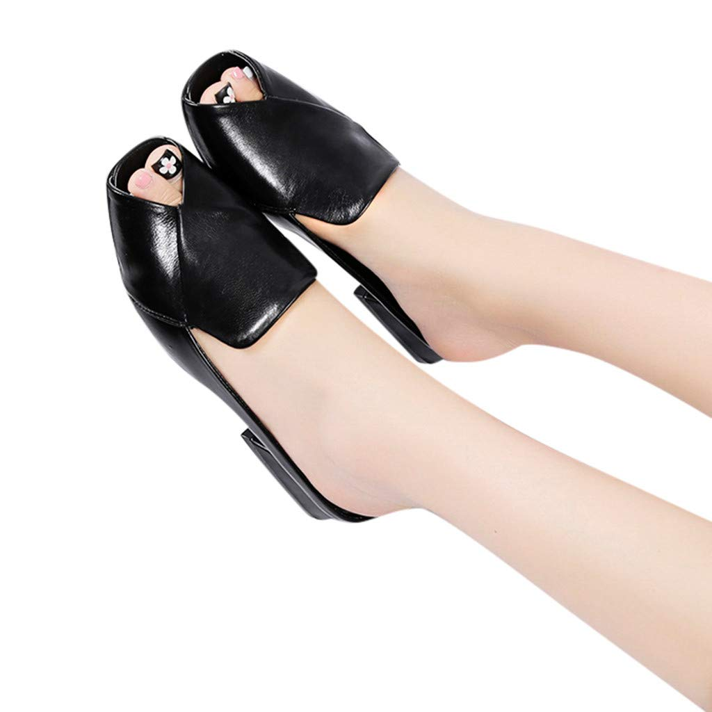 Geetobby Womens Open Toe Strappy Sandal Summer Platforms Faux Leather Cute Shoes