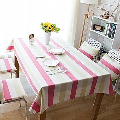 90x 140Vert jaune Rouge à bandes moderne scandinave minimaliste Instagram Nappe en coton et lin pique-nique Table de salle à manger rectangulaire carrée respectueux de l'environnement couvrant