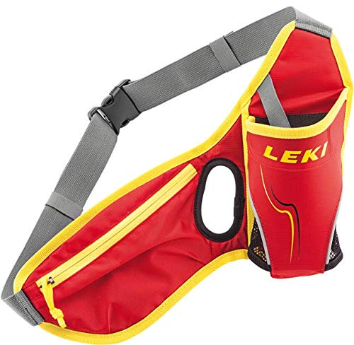 LEKI Unisex – Erwachsene Drinkbelt Hüftgurt, Red-Neon Yellow, One Size