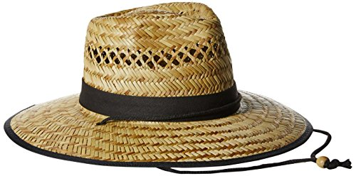 (San Diego Hat Co. Men's Upf 50 Wide Brim Straw Lifeguard Outback Sun, Natural, One)